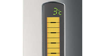 LCD display with temperature, volume and freshness indication
