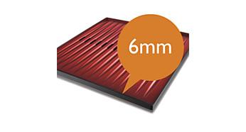 Extradicke Grillplatte, die auch bei gefrorenem Grillgut heiß bleibt.