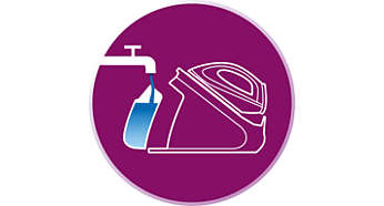 Refill the water tank at any time, even during ironing