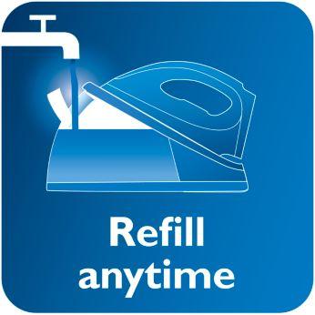 Резервуар для воды можно заполнять в любой момент, даже в процессе глажения