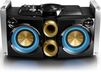 Philips Mini Hi-Fi System FWP2000 Aparelho de som para festas compatível com CD, CD de MP3, USB; grava de CD para USB 240W, extensível com FWP1000