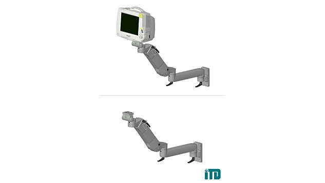 Height, adjustable arm with extension on ITD support extrusion