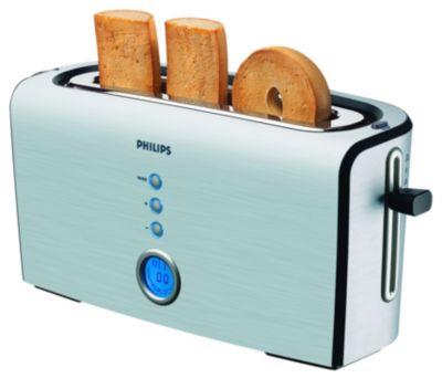 Broodrooster met LCD-scherm, lange sleuf en 4 functies