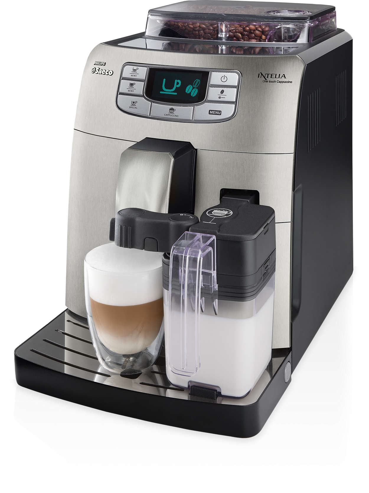 intelia super automatic espresso machine hd8753 87 saeco. Black Bedroom Furniture Sets. Home Design Ideas