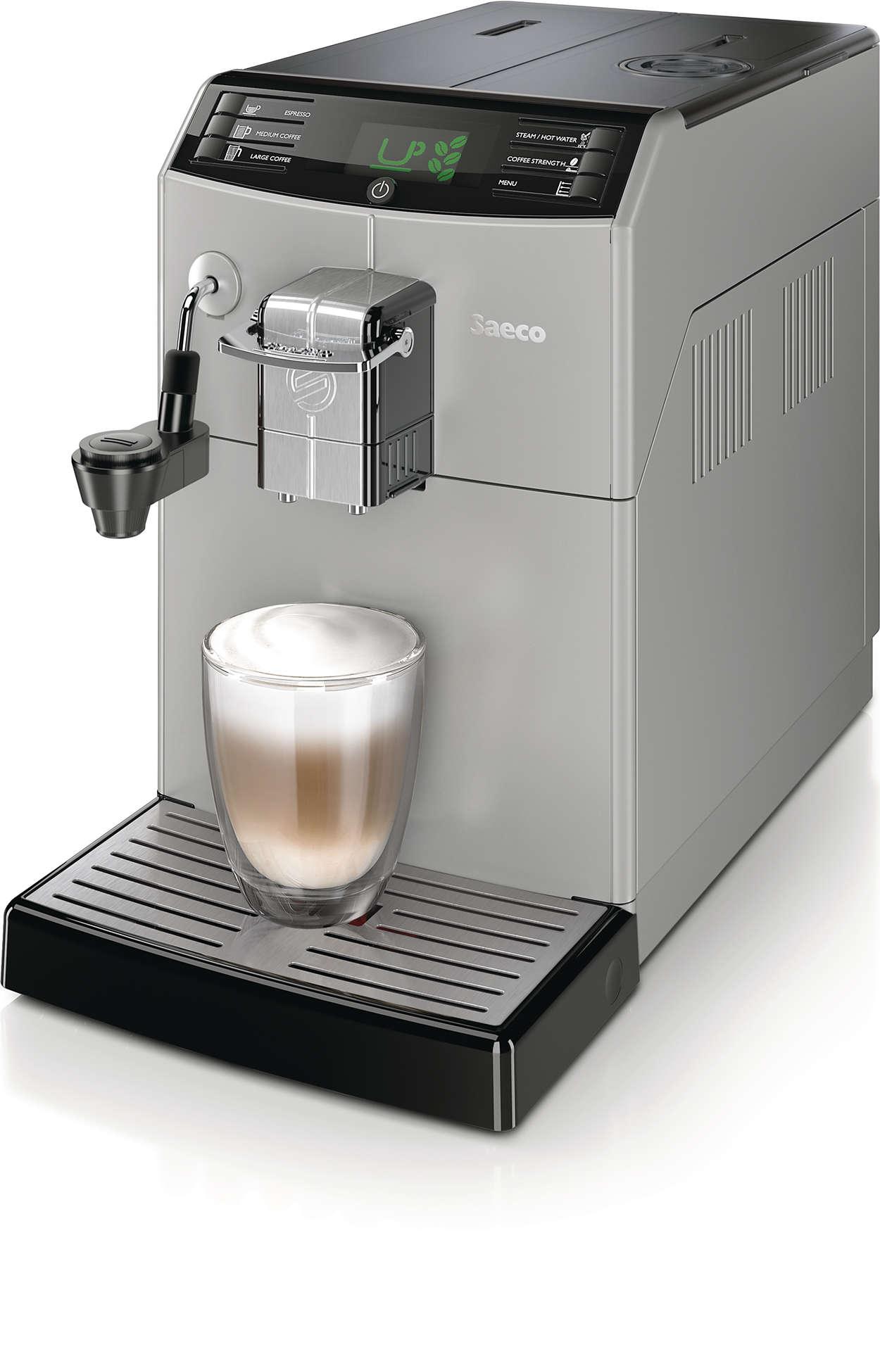 minuto super automatic espresso machine hd8772 47 saeco. Black Bedroom Furniture Sets. Home Design Ideas