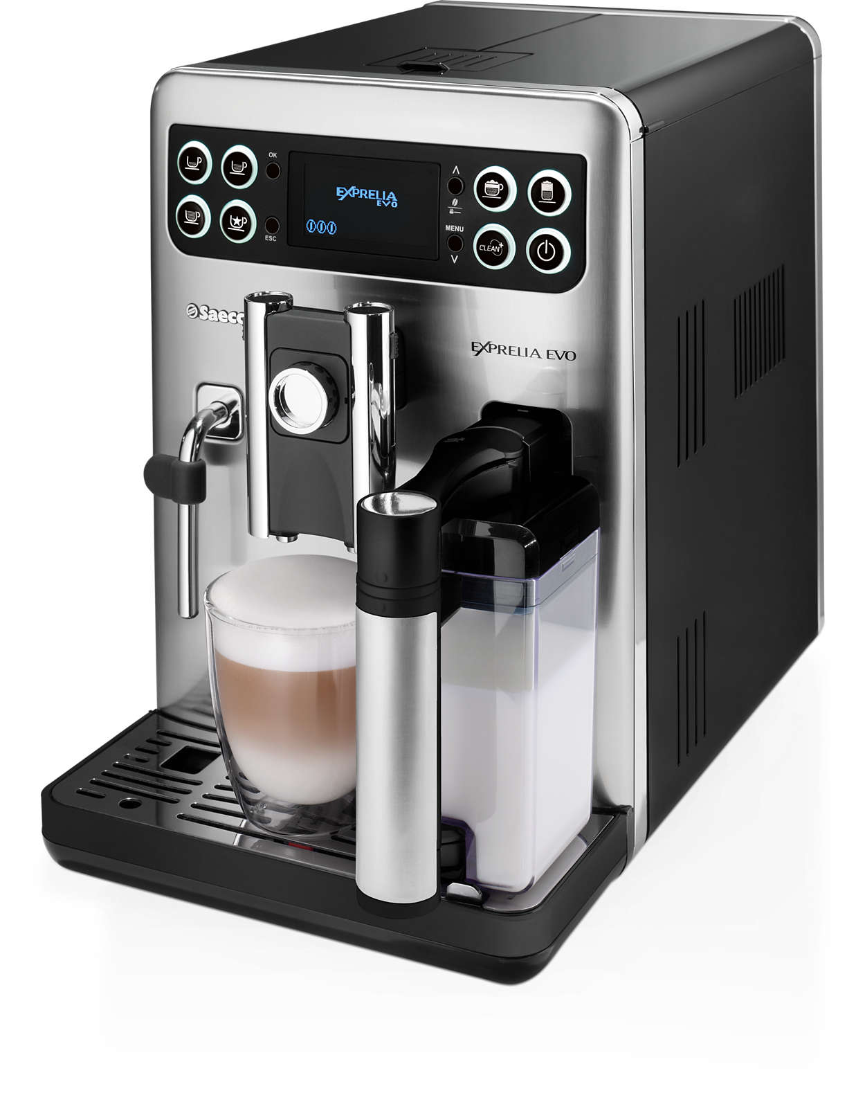 exprelia evo super automatic espresso machine hd8855 03 saeco. Black Bedroom Furniture Sets. Home Design Ideas