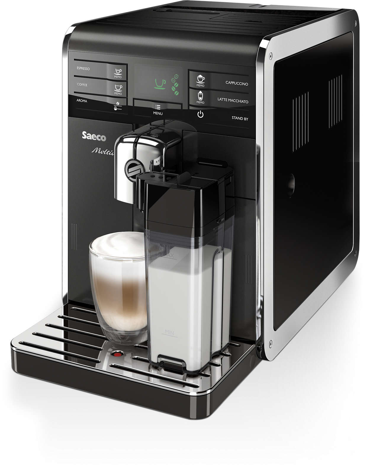 moltio super automatic espresso machine hd8869 47 saeco. Black Bedroom Furniture Sets. Home Design Ideas