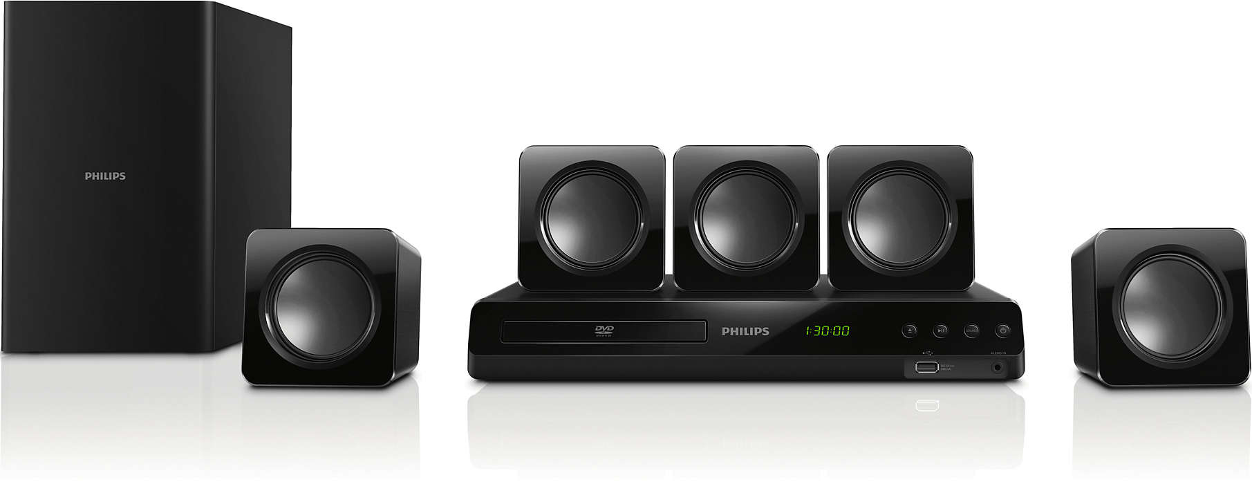 Powerful surround sound from compact speakers