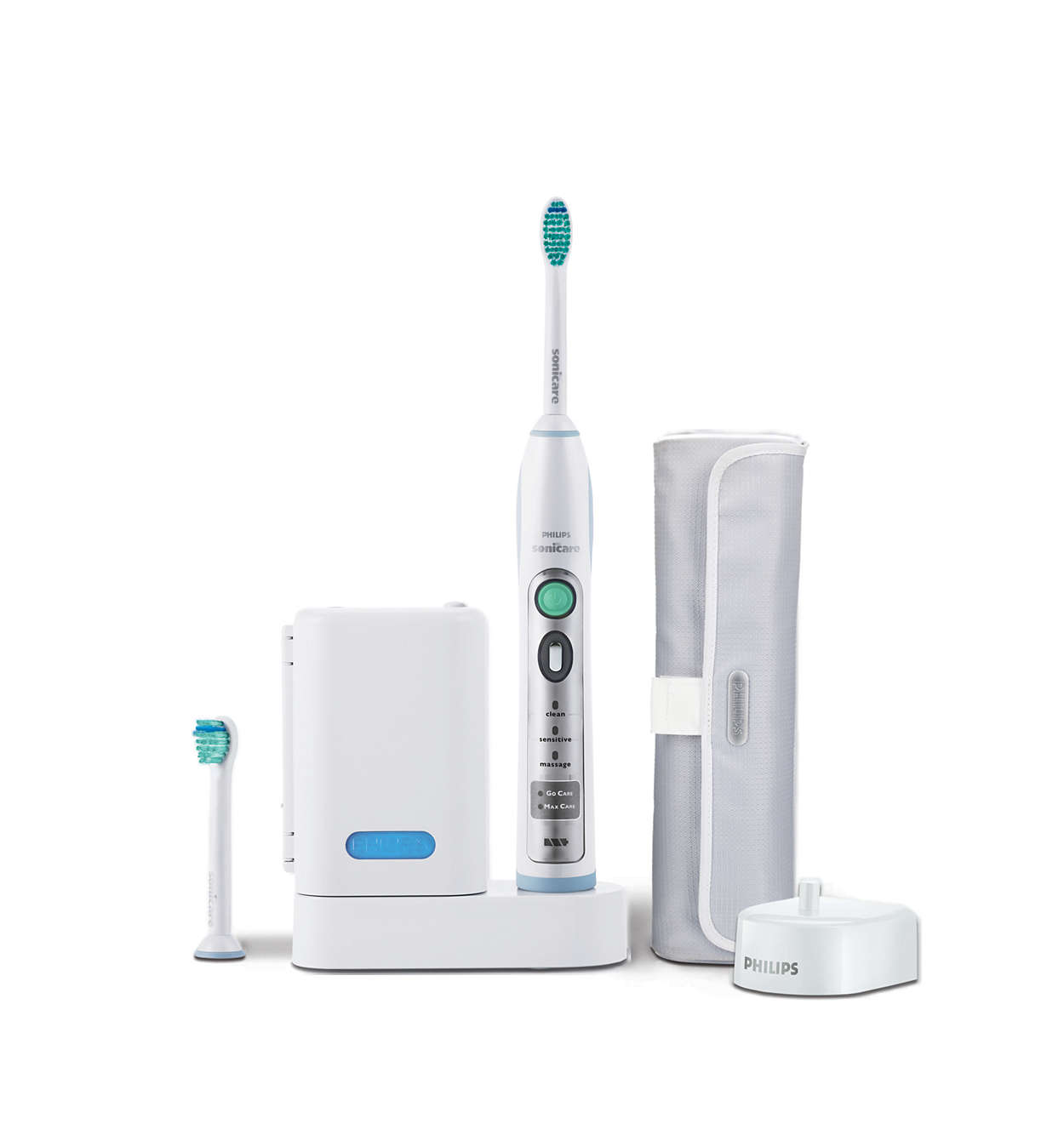 Your Philips Sonicare has been designed to last up to 3 weeks on a single charge. Read 'Traveling with your Philips Sonicare' for additional charging methods. The charging glass is designed to properly charge only one handle at a time.