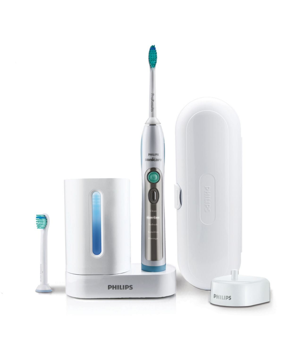 Philips Sonicare FlexCare+ rechargeable electric toothbrush,Standard Packaging Philips Sonicare 2 Series Rechargeable Toothbrush Premium Bundle HX for Clean and Massage (2 Quadpacer Handles + 3 Brush Heads (2 ProResults Plaque Control + 1 DiamondClean) + 2 Charger + 2 Case).