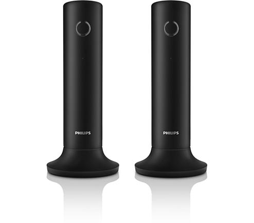 philips t l phone fixe sans fil design linea noir m3352b pas cher achat vente t l phone. Black Bedroom Furniture Sets. Home Design Ideas