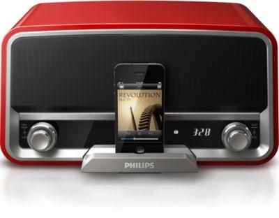 Radio originale rouge vif avec station d'accueil pour iPod/iPhone
