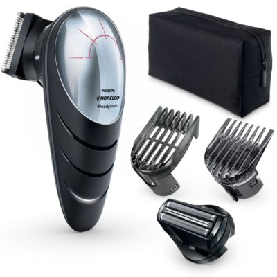 Philips Norelco Headgroom DIY cordless hair clipper QC5580/40 Easy Reach 180° rotating head 14 built-in length settings 60mins cordless use/1h charge Head shave attachment