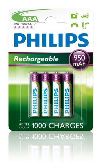 Philips  Batterie AAA, 1000 mAh R03B4A100/10