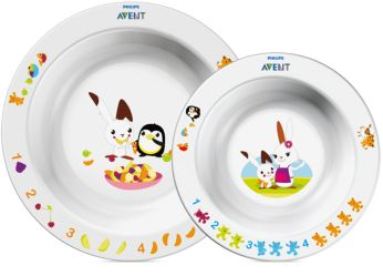 White Toddler 2 bowl set 6m+