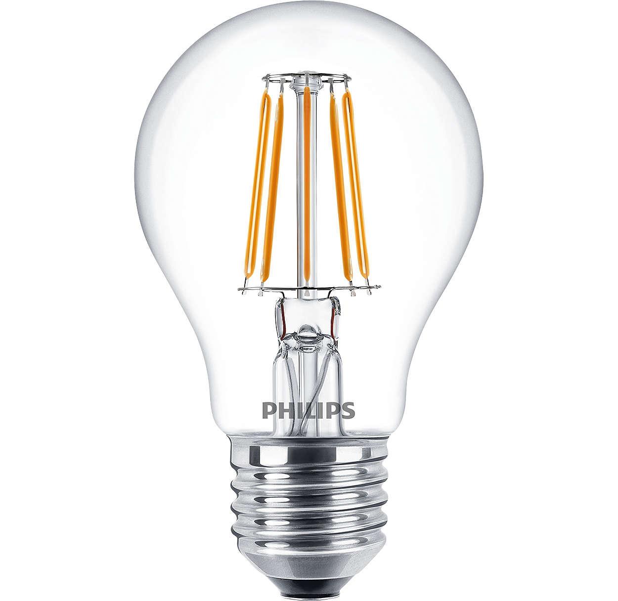 Cla ledbulb nd 4 3 40w e27 ww a60 cl classic led filamento - Iluminacion led decorativa ...