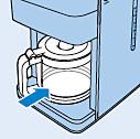 Platzieren der Kaffeekanne im Gerät