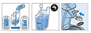 Preparación para la eliminación de los depósitos de cal de SENSEO Cappuccino Select