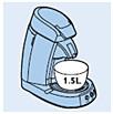 Afbeelding van SENSEO met 1,5 liter-kom op de lekbak geplaatst