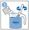 Meng ontkalkermengsel met 1 liter water