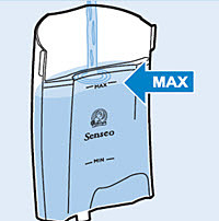 fill water tank with water to the max indication