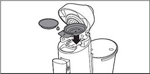 Plaats een gebruikte Senseo-koffiepad in de Senseo Twist