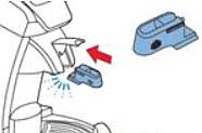 석회질 세척 도구 삽입