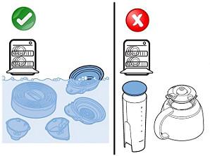 présentation des pièces compatibles lave-vaisselle et de celles qui ne le sont pas