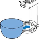 Zet een kom met een inhoud van minstens 1,5 liter onder de tuit om de ontkalkeroplossing op te vangen.