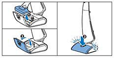 Fermeture du couvercle de l'embout du combiné aspirateur/balai
