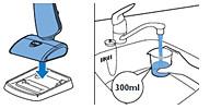 Platzieren des Geräts auf dem Spülfach