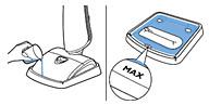 Отметка MAX в поддоне для промывки