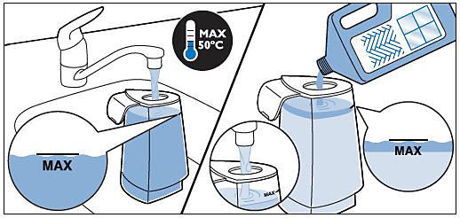 Adding water and liquid floor cleaner