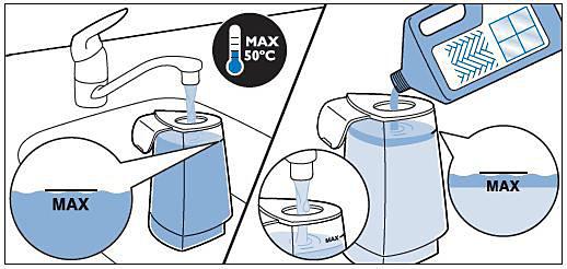 Adding warm water and liquid floor cleaner