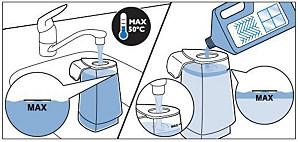 따뜻한 물 및 바닥용 액상 세정제 넣기