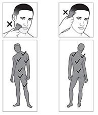 Zonas en las que se puede usar la afeitadora corporal Philips