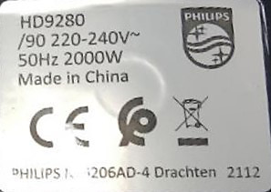 Finding the serial number in Philips Airfryer XL