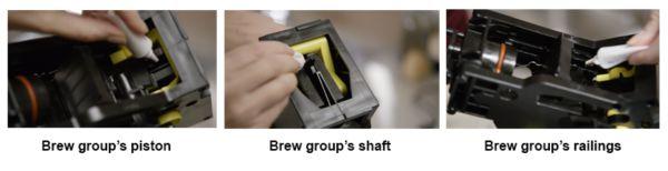 Einfetten der Brühgruppe der Saeco Espressomaschine