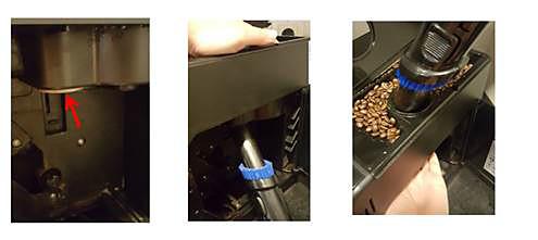 desfundarea pâlniei pentru cafea cu aspiratorul