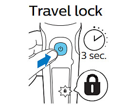 Philips shaver travel lock symbol