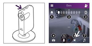 Nightlight-knop op Philips Avent slimme babyfoon