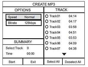 MP3 conversion options (Step 4)