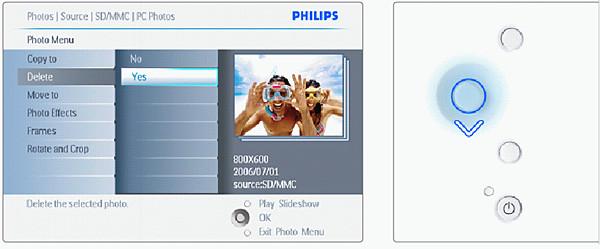 Menu of Philips Photo Frame