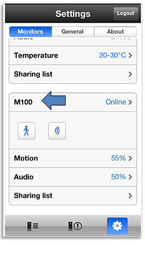 Settings in Philips InSight app