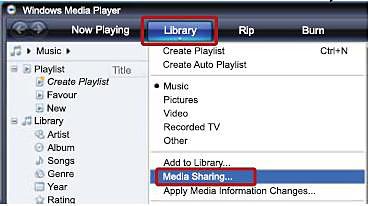Windows Media player - Library