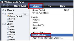 Windows Media player - Library