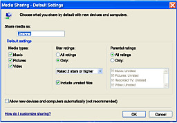 Media Sharing - Default Settings