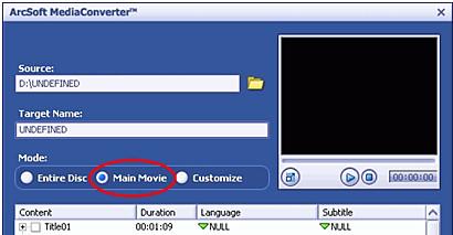 Selecting the Main Movie in Media Converter