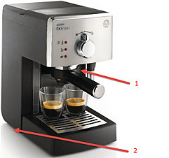 Leakage positions manual espresso