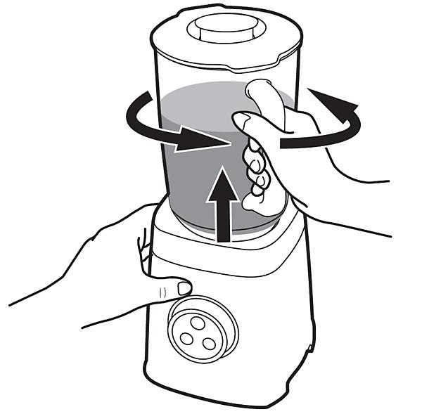 Philips-tehosekoittimen kannun irrotus alustasta